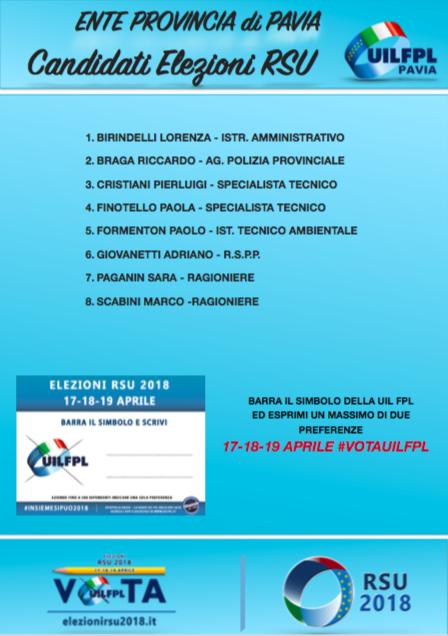 Lista candidati provincia