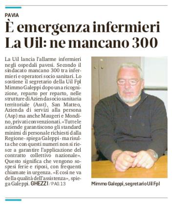 La UIL FPL di Pavia denuncia la carenza cronica di personale sanitario in provincia di Pavia