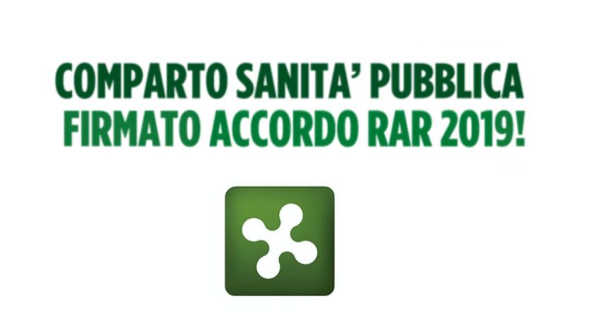Comparto sanità pubblica - sottoscritto accordo RAR 2019