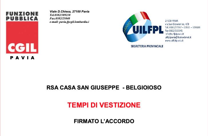RSA San Giuseppe - sottoscritto accordo su tempi di vestizione