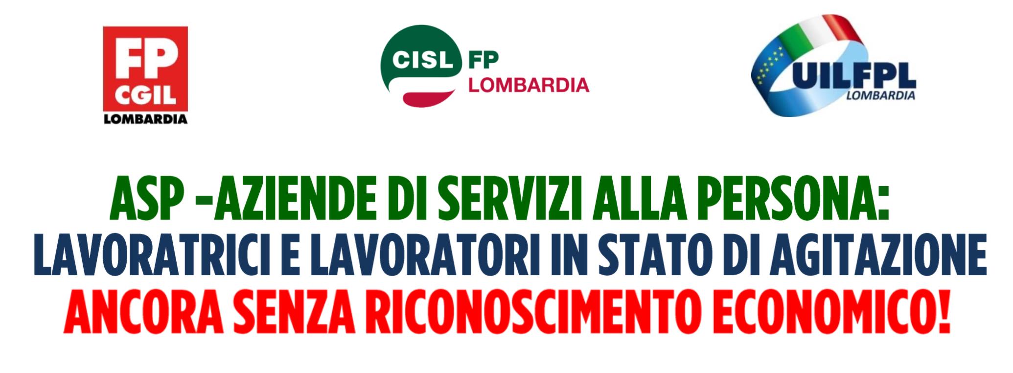 Le segreterie regionali di UIL FPL - CGIL FP - FP CISL dichiarano lo stato di agitazione del personale ASP di Regione Lombardia