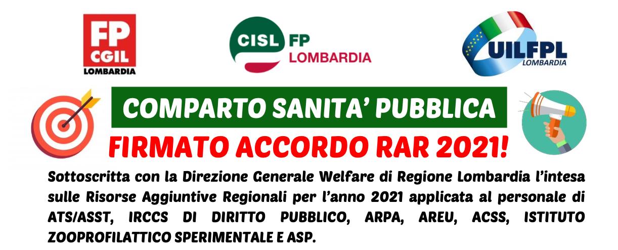 FIRMATO ACCORDO RAR 2021 - COMPRTO SANITA' PUBBLICA