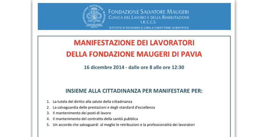 Vertenza Maugeri: il 16 dicembre lavoratori e sindacati marceranno in corteo