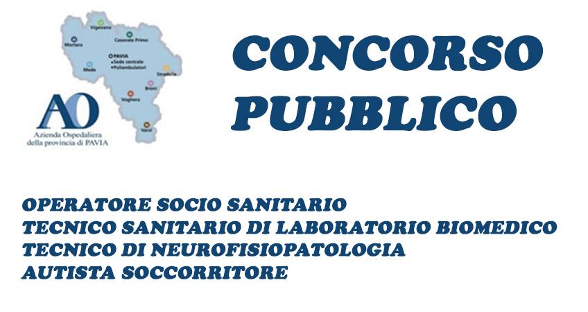 ASST Pavia (ex Azienda Ospedaliera): bando di concorso per OSS, tecnici sanitari e autista soccorritore