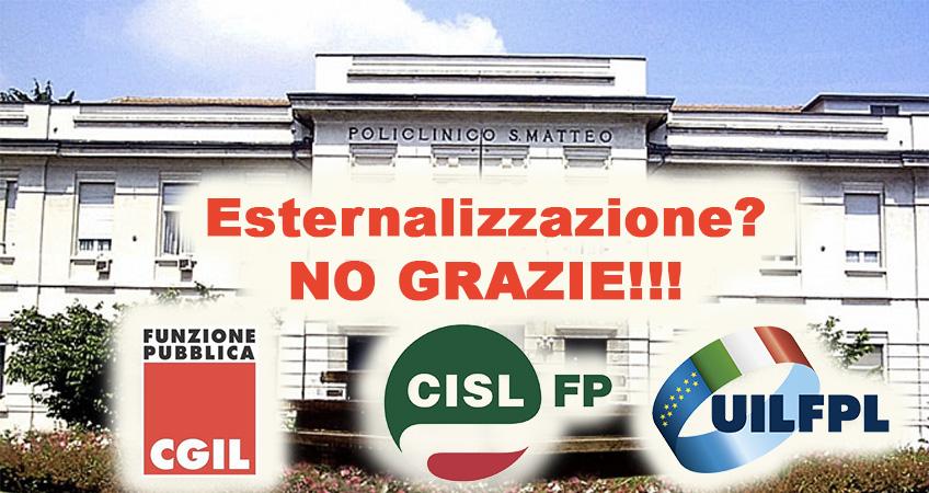 Esternalizzazioni servizi San Matteo: arriva il secco NO da CGIL, CISL e UIL