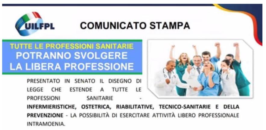 Tutte le professioni sanitarie potranno svolgere la libera professione - Presentato in senato il disegno di legge che estende a tutte le professioni sanitarie la possibilità di esercitare attività libero professionale intramoenia