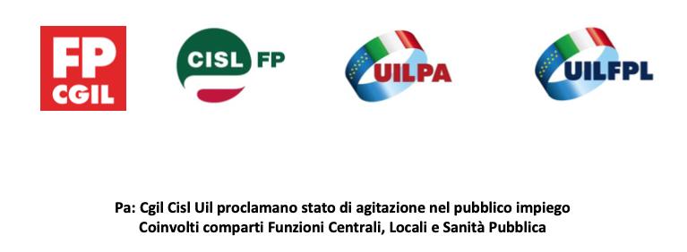 P.A. CGIL CISL e UIL proclamano stato di agitazione nel pubblico impiego. Coinvolti comparti Funzioni Centrali, Locali e Sanità Pubblica