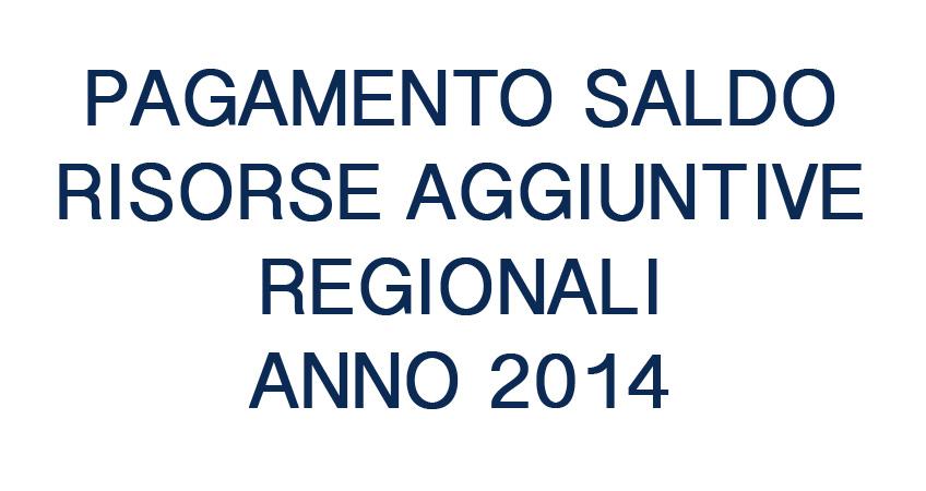 Pagamento quota a saldo Risorse Aggiuntive Regionali anno 2014
