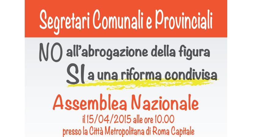 Domani 15/4/2015 Assemblea unitaria dei Segretari Comunali e Provinciali