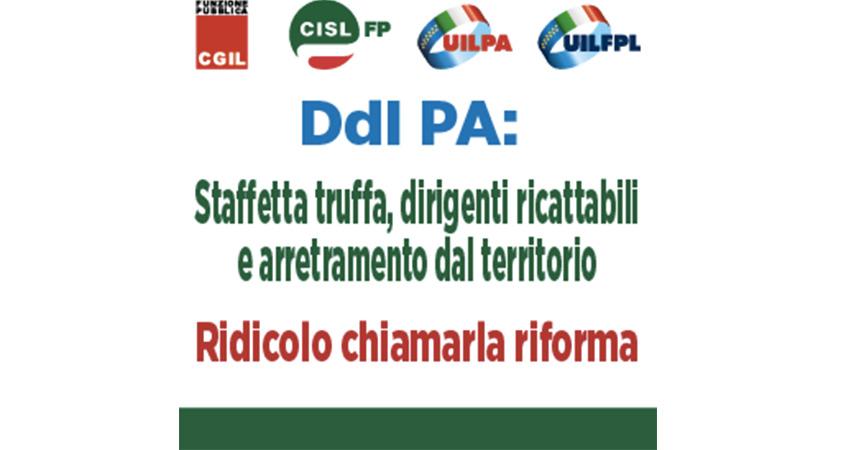 """Riforma Pa, Cgil Cisl e Uil: """"Staffetta truffa, dirigenti ricattabili e arretramento dal territorio. Ridicolo chiamarla riforma """""""