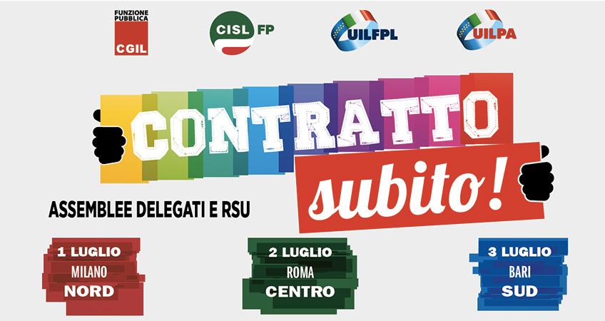 Pa: Cgil Cisl Uil, continua la mobilitazione per il contratto, tre assemblee a inizio luglio