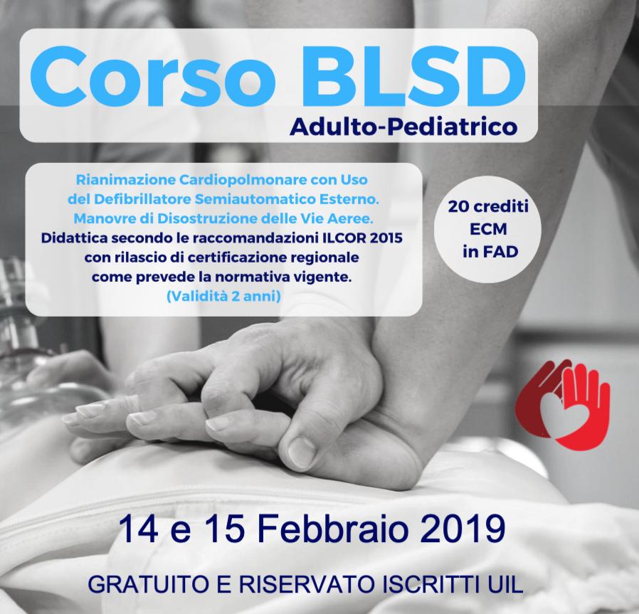 Corso esecutore BLS-D adulto/pediatrico aperte le pre iscrizioni per i corsi del 14 e 15 febbraio 2019