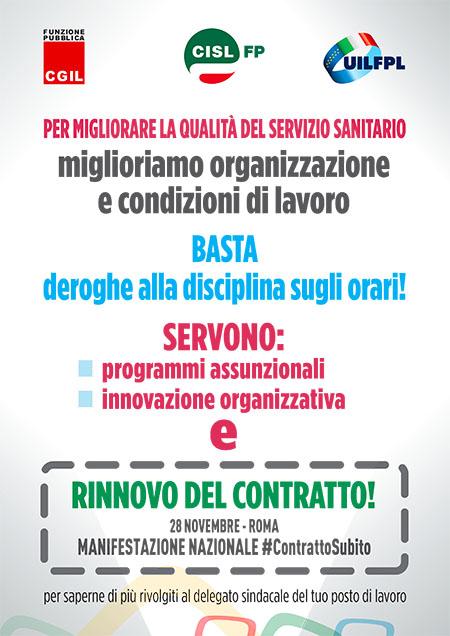 """28 novembre manifestazione nazionale di tutti i settori dei servizi pubblici - Cgil Cisl Uil Confsal Gilda: """"Un contratto vero per i lavoratori e per cambiare i servizi ai cittadini"""""""
