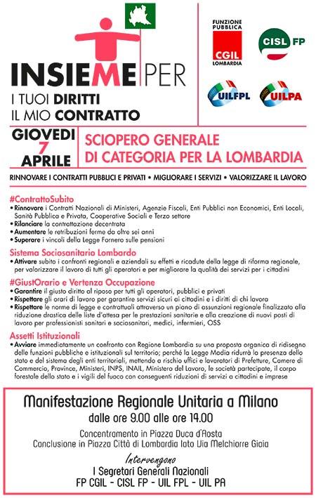 Sciopero Generale di categoria per la Lombardia